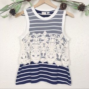 Anthro Postmark lace overlay striped nautique tank